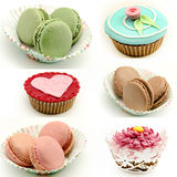 Mural of cupcakes and cookies macaron Stock Photo