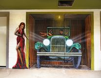 Mural de la pared, Seligman, Arizona los E.E.U.U. imagenes de archivo