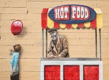 Mural de la pared, vendedor de comida fotos de archivo