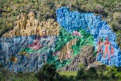 Mural DE La Prehistoria The Muurschildering van Voorgeschiedenis schilderde op een klippengezicht in de Vinales-vallei, Cuba stock foto's