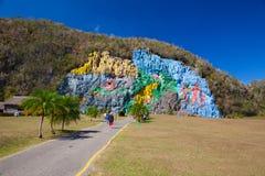 Mural DE La Prehistoria, Pinar del Rio, Cuba Royalty-vrije Stock Foto's