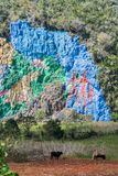 Mural de la Prehistoria The Mural of Prehistory painted on a cliff face in the Vinales valley, Cuba royalty free stock photography