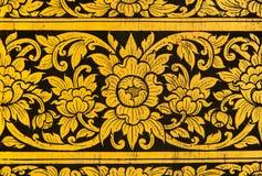 Mural de oro de la flor Foto de archivo libre de regalías