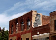 Mural. A mural decorates the side of a building in the small gold mining town of Victor, Colorado stock photos