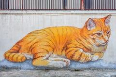 Mural del gato de Penang Foto de archivo libre de regalías