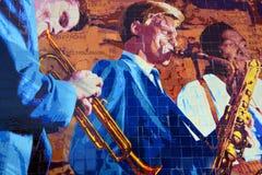 Mural del jazz 1945-1972 de Hollywood Foto de archivo libre de regalías