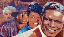 Mural del jazz 1945-1972 de Hollywood Fotografía de archivo