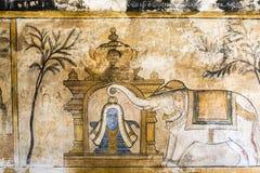 Mural dentro del templo de Brihadishwara en Tanjore - la India Imagenes de archivo