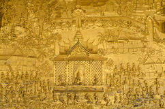 Mural detail at Wat Mai. Mural detail, Wat Mai, Luang Prabang, Laos Stock Photography