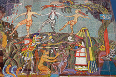 Mural by Diego Rivera. Detail of the mural located in Insurgentes Theater, Mexico City. The pre-Columbian period. This mural was made with small pieces of stock photos