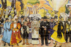 Mural of Diego Rivera. Detail of ceramic mural based on Diego Rivera painting Dream of a Sunday afternoon in Alameda Park, this mural is located in the town of Stock Photo