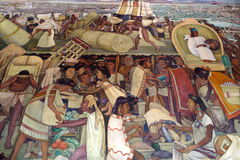 Mural by Diego Rivera, Mexico. The details of Diego Rivera's mural depicting Mexico's history, at the National Palace in Mexico City. Diego Rivera was a Royalty Free Stock Image