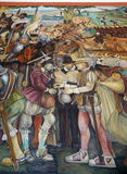 Mural by Diego Rivera, Mexico. The details of Diego Rivera's mural depicting Mexico's history, at the National Palace in Mexico City. Diego Rivera was a Royalty Free Stock Photos