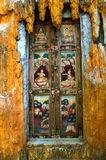 Mural on the door. This is a mural on the door in the Buddhist Church area. Generality in Thailand, any kind of art decorated in Buddhist Church, Temple pavilion royalty free stock image