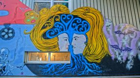 Mural with elements of works painter Edvard Munch Stock Images