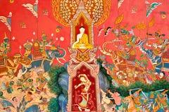 Mural en la pared de la iglesia budista imagen de archivo libre de regalías