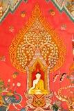 Mural en la pared de la iglesia budista foto de archivo