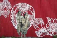 Mural en la sección roja del gancho de Brooklyn Fotos de archivo