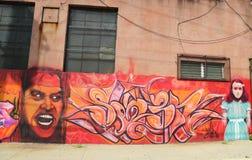 Mural en la sección roja del gancho de Brooklyn Fotos de archivo libres de regalías