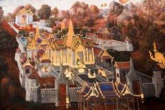Mural en Wat Phra Kaew en el palacio magnífico tailandia bangkok fotografía de archivo libre de regalías