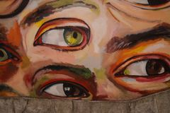Mural with eyes watching you royalty free stock image
