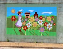 Mural Of A Fair Maiden On A Bridge Underpass On James Rd in Memphis, Tn Stock Photo