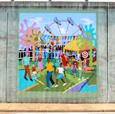 Mural Of Families At An Amusement Park On A Bridge Underpass On James Rd in Memphis, Tn Stock Images