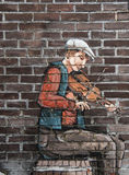 Mural of a fiddler Royalty Free Stock Photos