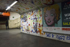 Mural by French street artist EpsylonPoint. ROME, ITALY - DECEMBER 31 2014:  Mural by French street artist EpsylonPoint, in the corridor of Rome metro station Royalty Free Stock Photos