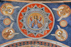 Mural Fresco. Ancient mural painted fresco with Holly Ghost at Antim Monastery, Bucuresti Romania stock image