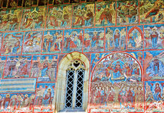 Mural Fresco Facade at Humor Monastery, Romania Stock Photos