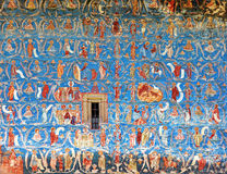 Mural Fresco at Voronet Monastery, Romania. Ancient mural painted fresco at Voronet Monastery, Romania Royalty Free Stock Photo