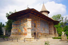 Mural frescoes of Voronet Monastery Royalty Free Stock Image