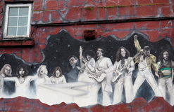 Mural In Galway Ireland. Mural with famous musicians in Galway, County Clare Ireland Royalty Free Stock Image