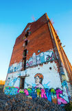 Mural of the German Federal Chancellor Angela Merkel at an abandoned factory Royalty Free Stock Photo