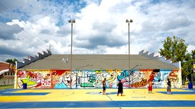 Mural at Grizzlies Community Court in Memphis, Tennessee. Stock Photography