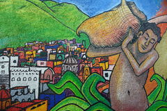 Mural in Guanajuato city, Mexico. Mural on the walls of residential buildings on the mountain of Pipila in Guanajuato city, Mexico stock images