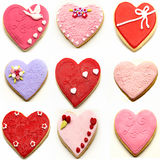 Mural of heart shaped cookies Royalty Free Stock Images