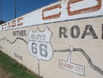 Worlds Largest Map of Route 66. A mural in Holbrook Arizona that is also the world`s largest map of route 66 royalty free stock image