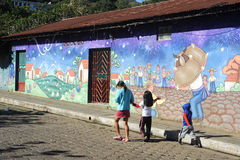 Mural on a house at Ataco in El Salvador Stock Photos