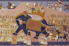 Mural of Indian Regal Procession Royalty Free Stock Photos