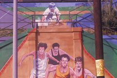 Mural in Los Angeles depicting joggers Royalty Free Stock Photos