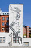 Mural. MALMO, SWEDEN - JUNE 30: Mural in the center of Malmo on June 30, 2014 in Malmo. Created by Phlegm for ArtScape Festival Royalty Free Stock Photos