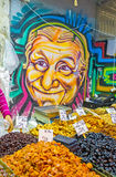 The mural in the market stall Royalty Free Stock Photos
