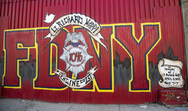 Mural in the memory of fallen FDNY firefighter Lt. Richard Nappi at East Williamsburg in Brooklyn Stock Images