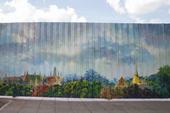 Mural on a metal fence stock photos