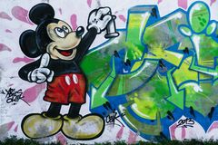 Mural of Mickey Mouse. This beautiful mural of street art is located in Białystok. This mural shows the popular cartoon character, Mickey Mouse Royalty Free Stock Photography