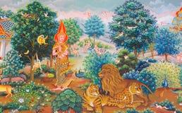 Mural mythology buddhist religion on wall in Wat Neram Royalty Free Stock Photo