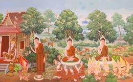 Mural mythology buddhist religion on wall in Wat Neram Stock Photography