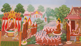 Mural mythology buddhist religion on wall in Wat Neram Royalty Free Stock Photography